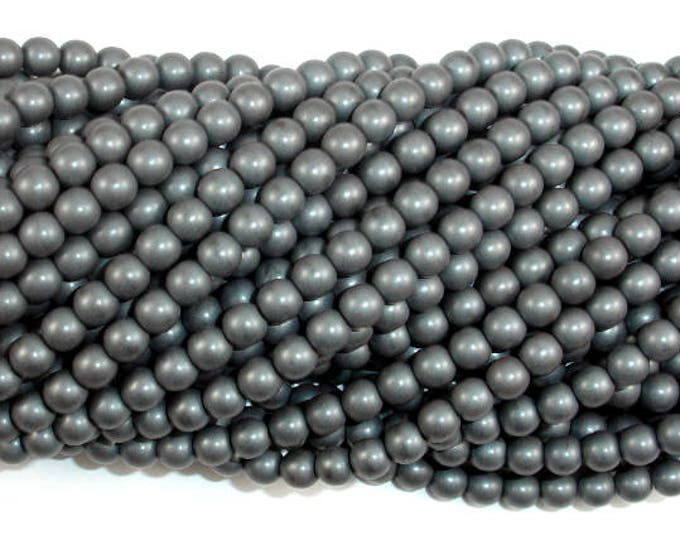 Matte Hematite Beads, 4mm Round Beads, 16 Inch, Full strand, Approx 100 beads, Hole 0.8mm, A quality (269054014)