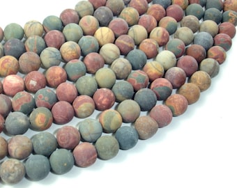 Matte Picasso Jasper Beads, 8mm (8.5 mm) Round Beads, 15.5 Inch, Full strand, Approx 47 beads, Hole 1 mm, A quality (344054009)