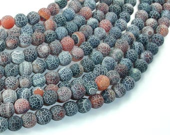 Matte Dragon Vein Agate, 8mm(7.9mm) Round Beads, 14.5 Inch, Full strand, Approx 49 beads, Hole 1 mm (122054244)