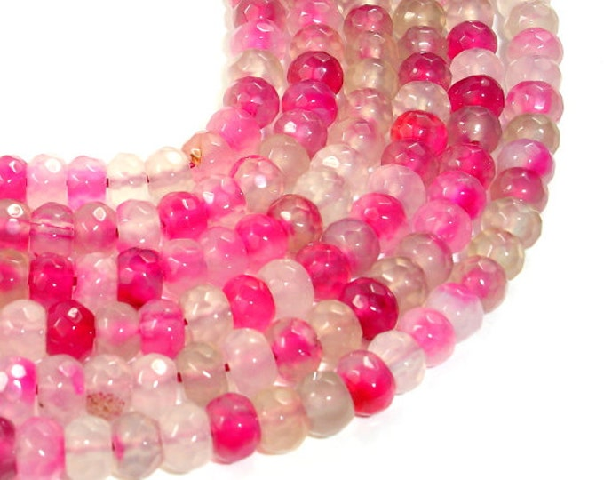 Pink Agate Beads, Faceted Rondelle, 4 x 6 mm, 15 Inch, Full strand, Approx 92 beads, Hole 1 mm, A quality (122024005)