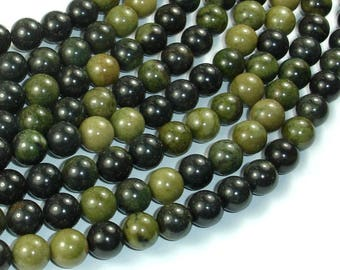 African Green Autumn Jasper Beads, 8mm (8.4mm) Round Beads, 16 Inch, Full strand, Approx 50 beads, Hole 1mm, A quality (157054002)
