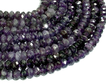 Amethyst, 5x8mm Faceted Rondelle Beads, 15.5 Inch, Full strand, Approx 76 beads, Hole 1mm(115024010)