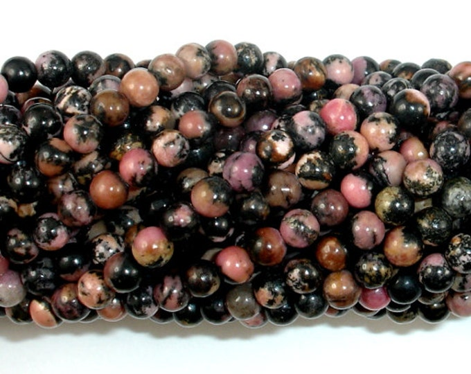 Rhodonite Beads, 4mm Round Beads, 15.5 Inch, Full strand, Approx 96 beads, Hole 0.6mm (386054004)