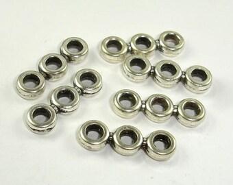 3 Hole Spacer, Zinc Alloy, Antique Silver Tone, 6x19mm, 20 pcs (006864003)