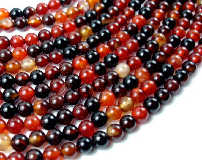 Sardonyx Agate Beads, 6mm Round Beads, 15 Inch, Full strand, Approx 63 beads, Hole 1 mm (397054006)