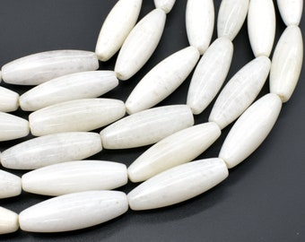 White Jade Beads, 10x30mm Rice Beads, 15.5 Inch, Full strand, Approx 13 beads, Hole 1mm (434052003)