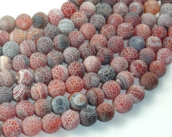 Frosted Matte Agate, Dragon Vein Agate, 10mm Round Beads, 14.5 Inch, Full strand, Approx 38 beads, Hole 1mm (122054190)