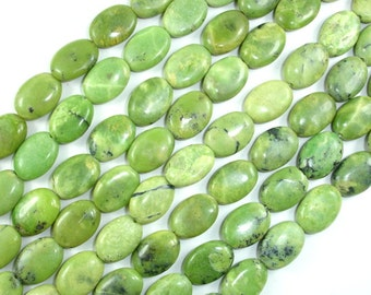 Chrysoprase Beads, 10x14mm Oval Beads, 16 Inch, Full strand, Approx 30 beads, Hole 1mm, AB quality (190030007)