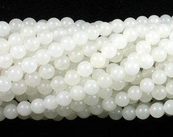 White Jade Beads, Round, 6mm (6.4mm), 15 Inch, Full strand, Approx 61 beads, Hole 1 mm, A quality (434054003)