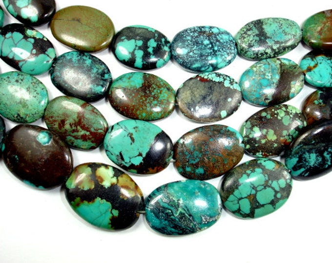 Genuine Turquoise, Approx (14-17)mmx(18-22)mm Oval Beads, 8 Inch, Half strand, Approx 9-11 beads, Hole 1 mm (328030006)