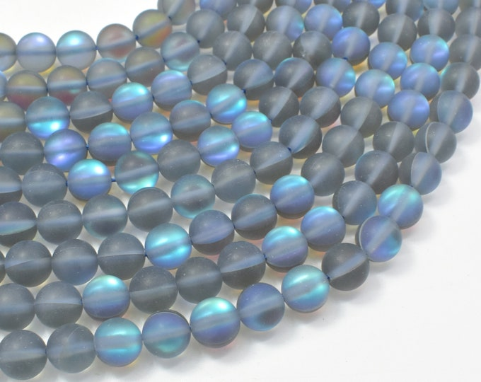 Matte Mystic Aura Quartz-Gray, 8mm (8.5mm) Round Beads, 15 Inch, Full strand, Approx 46 beads, Hole 1mm (313054004)