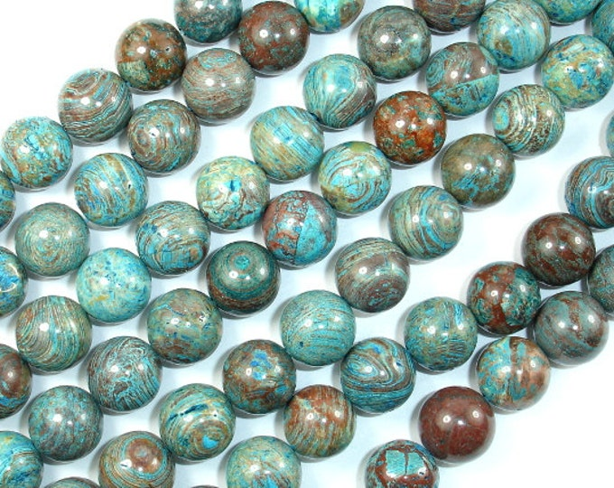 Blue Calsilica Jasper, 12mm Round Beads, 16 Inch, Full strand, Approx 34 beads, Hole 1 mm, A quality (496054006)