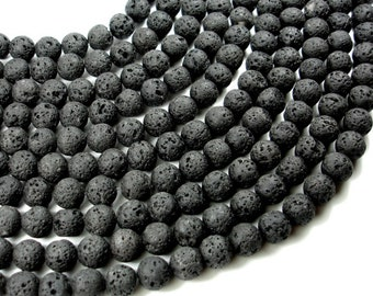 Black Lava Beads, Round, 10mm (10.3 mm), 15.5 Inch, Full strand, Approx 38 beads, Hole 1 mm (300054017)