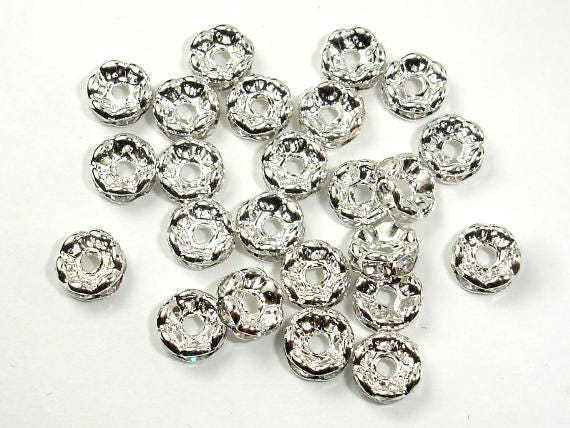 Rhinestone, 6mm/8mm/10mm,Finding Spacer Round,Clear,Silver