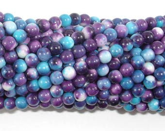 Rain Flower Stone Beads, Blue, Purple, 4mm (4.5mm) Round Beads, 16 Inch, Full strand, Approx 96 beads, Hole 0.8 mm, A quality (377054037)