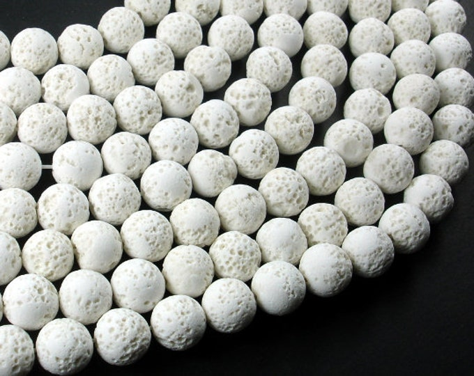 White Lava Beads, 10mm Round Beads, 15.5 Inch, Full strand, Approx 41 beads, Hole 1mm (300054045)