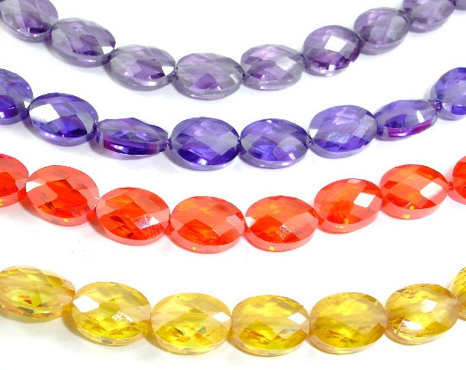 CZ beads,Cubic Zirconia Beads, Faceted Oval, 6x8mm, 6 Inch, 1 strand, 19 beads, Hole 0.8 mm, A Grade (OS0608B)