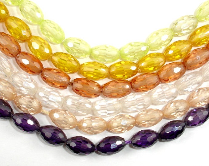 Cubic Zirconia Beads, CZ beads, 6 x 9 mm Faceted Rice Beads, 6 Inch, 1 strand, 17 beads, Hole 0.6 mm, A Quality (RI0609)