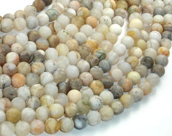 Matte Bamboo Leaf Agate, 6mm (6.5mm) Round Beads, 15.5 Inch, Full strand, Approx 63 beads, Hole 1mm (131054007)