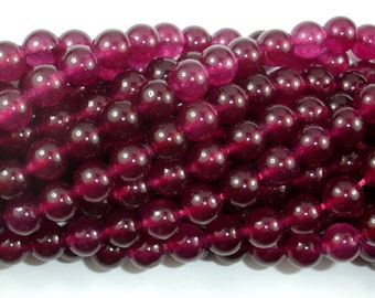 Jade Beads-Fuchsia, 8mm Round Beads, 15 Inch, Full strand, Approx 47 beads, Hole 1mm (211054168)