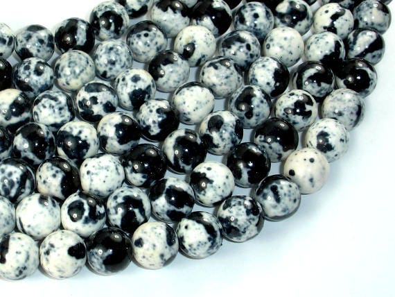 "377054024 White 10.6mm Black Rain Flower Stone Beads 15.5/"" 10mm Round"