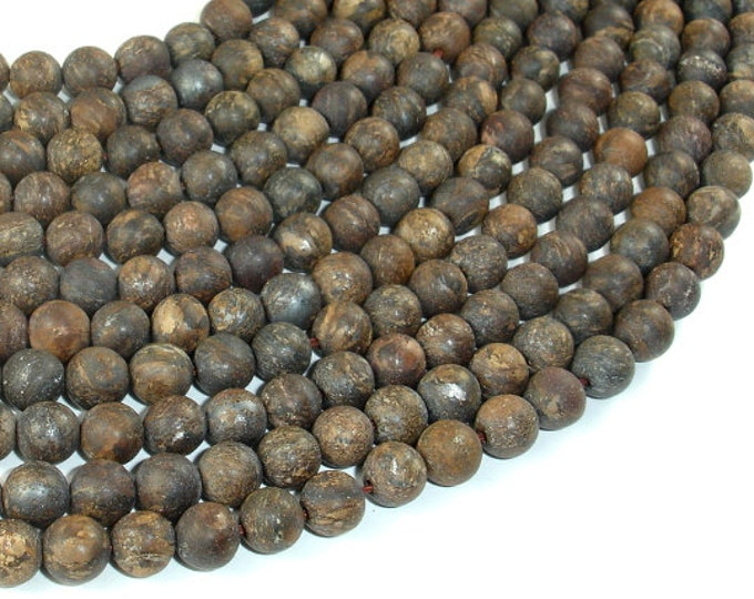 Matte Bronzite Beads, Round, 6mm (6.5mm), 15 Inch, Full strand, Approx 59 beads, Hole 1mm, A quality (174054008)