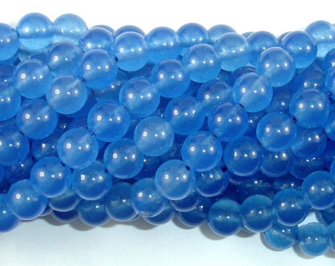 Jade Beads-Blue, 8mm Round Beads, 15 Inch, Full strand, Approx 48 beads, Hole 1mm (211054164)