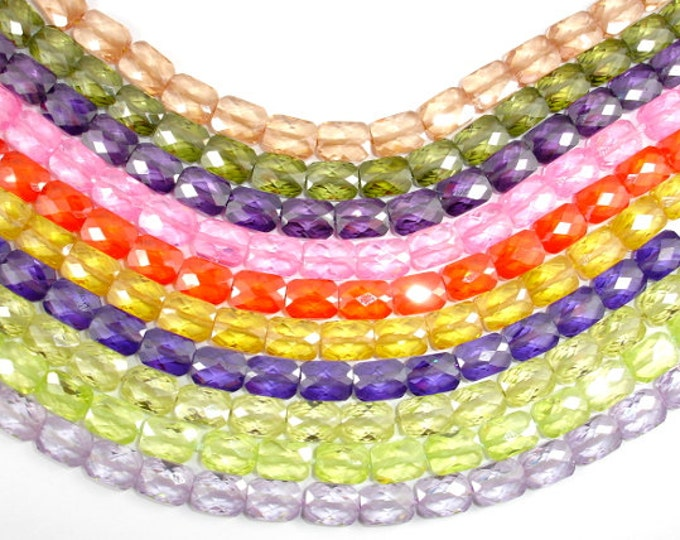Cubic Zirconia Beads, CZ beads, 6 x 8 mm Faceted Rectangle Beads, 6 Inch, 1 strand, 19 beads, Hole 0.8 mm, A quality (RE0608)