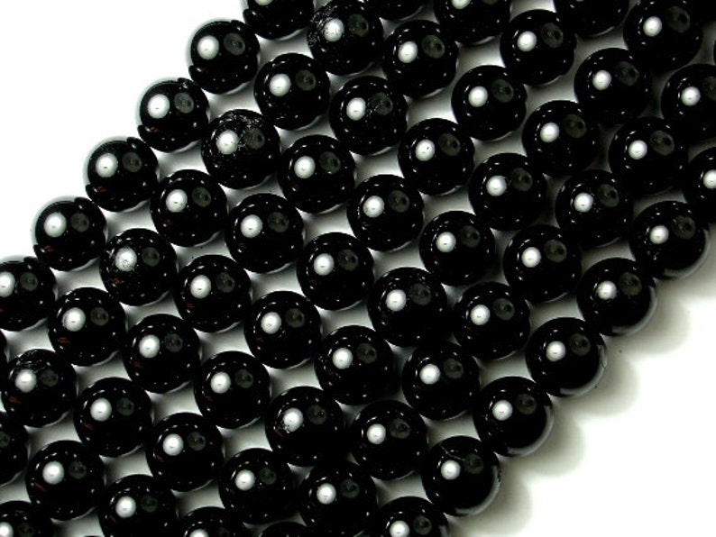 147054003 16 Inch A quality Full strand Hole 1 mm Round Approx 38 beads Black Tourmaline Beads 12mm 12.5mm