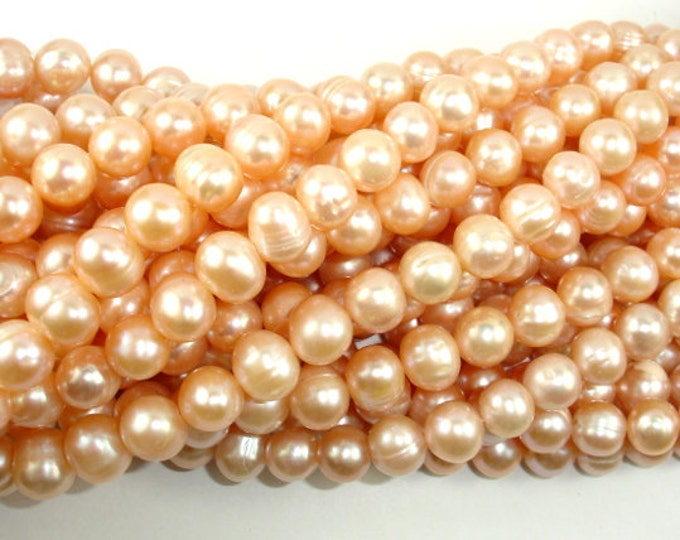 Fresh Water Pearl Beads, Peach, Potato, Approx 8mm - 9mm, 15 inch , Full strand, Approx 45 beads, Hole 0.5 mm (230050025)