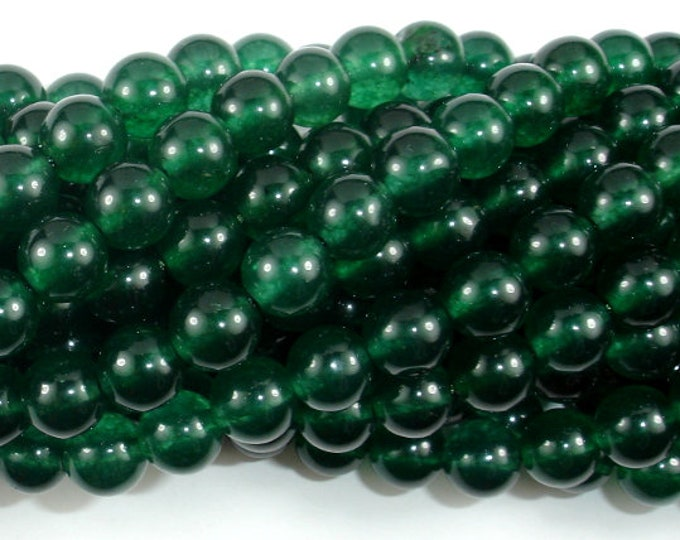 Jade Beads-Emerald, 8mm Round Beads, 15.5 Inch, Full strand, Approx 49 beads, Hole 1mm (211054163)