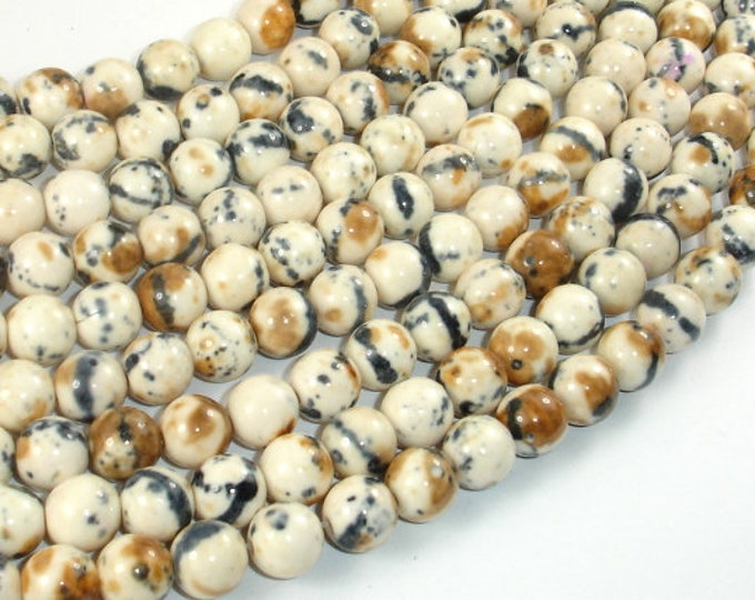 Rain Flower Stone, Creamy White, Black, 8mm (8.5mm) Round Beads, 15.5 Inch, Full strand, Approx 48 beads, Hole 1mm, A quality (377054043)