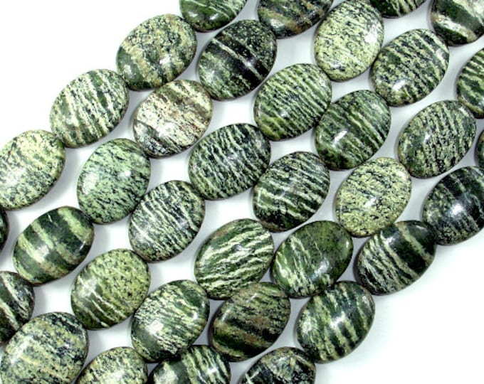 Green Zebra Jasper Beads, 13x18mm Coin Beads, 15.5 Inch, Full strand, Approx 22 beads, Hole 1 mm, A quality (268030003)