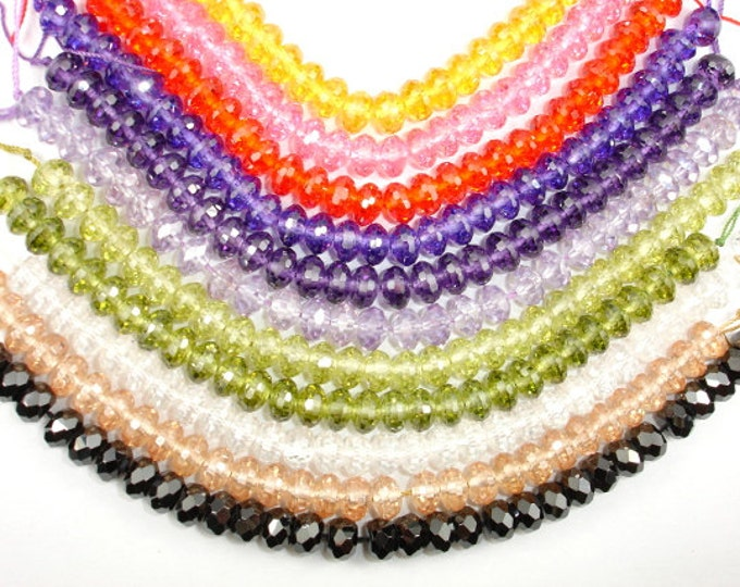 CZ bead, Cubic Zirconia Beads, Faceted Rondelle, Approx 5 x 8 mm, 6 Inch, 1 strand, Approx 30 beads,Hole 0.8 mm, A Grade (RON0808)