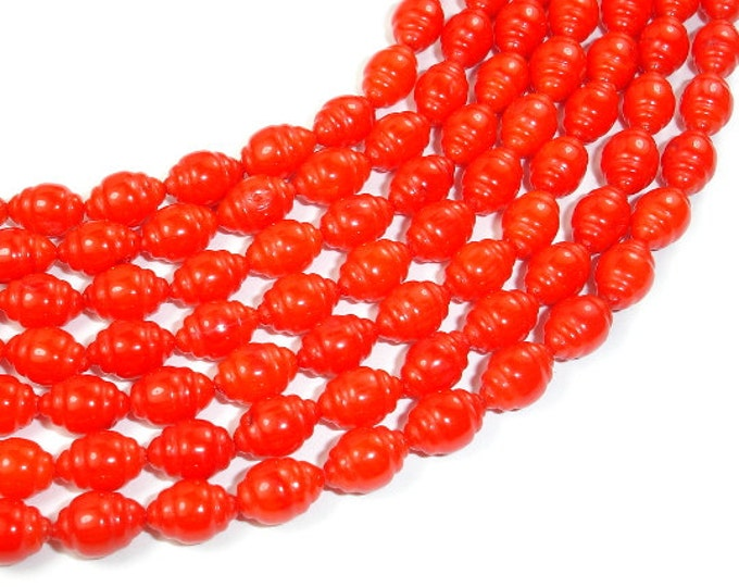 Red Bamboo Coral Beads, 6 x 9 Carved Rice Beads, 16 Inch, Full strand, Approx 47 beads, Hole 0.8 mm (368052004)