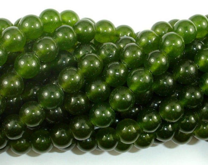 Jade Beads-Olive Green, 8mm Round Beads, 14.5 Inch, Full strand, Approx 46 beads, Hole 1mm (211054170)