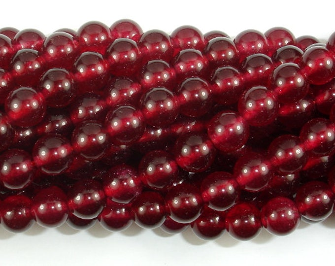Jade Beads-Ruby, 8mm Round Beads, 15 Inch, Full strand, Approx 49 beads, Hole 1mm (211054159)