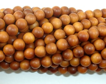 Sandalwood Beads, 6mm(6.3mm) Round Beads, 25 Inch, Full strand, Approx 108 Beads, Mala Beads (011747002)