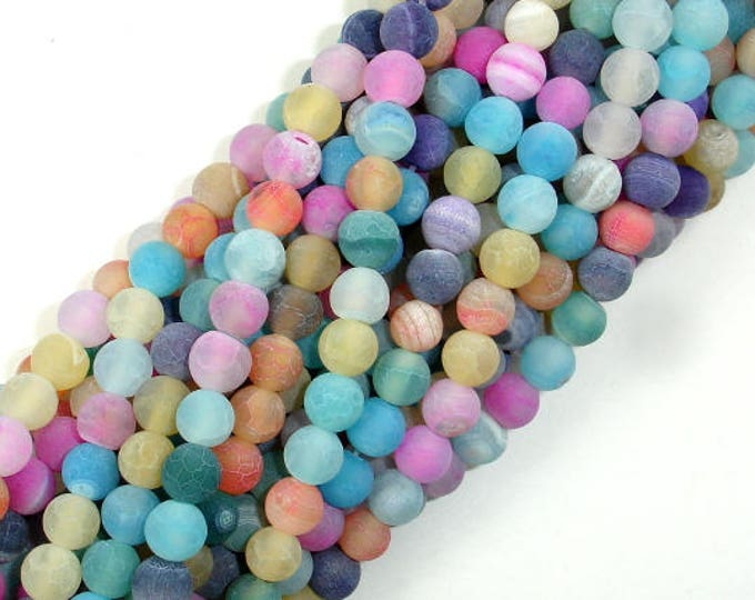 Frosted Matte Agate - Multi Color, 6mm Round Beads, 15 Inch, Full strand, Approx 63 beads, Hole 1 mm (122054144)