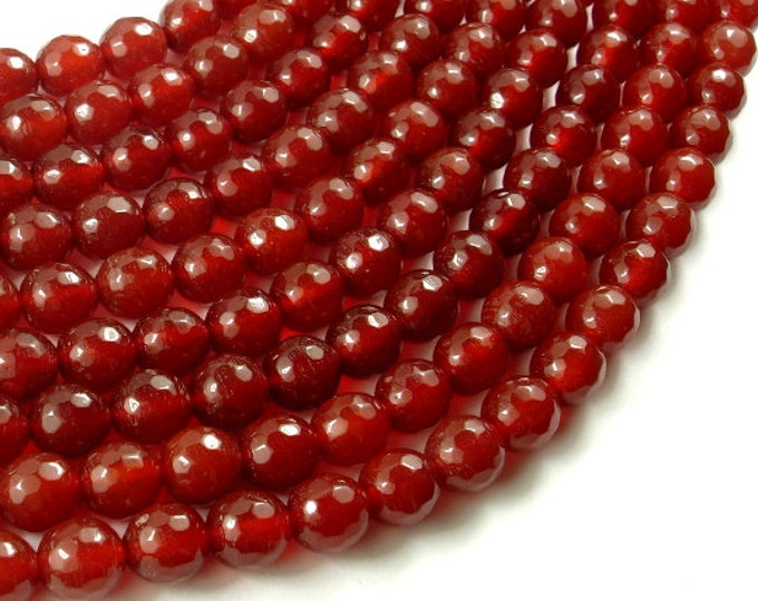 Carnelian Beads, 8mm Faceted Round Beads, 15 Inch, Full strand, Approx 47 beads, Hole 1mm, A quality (182025007)