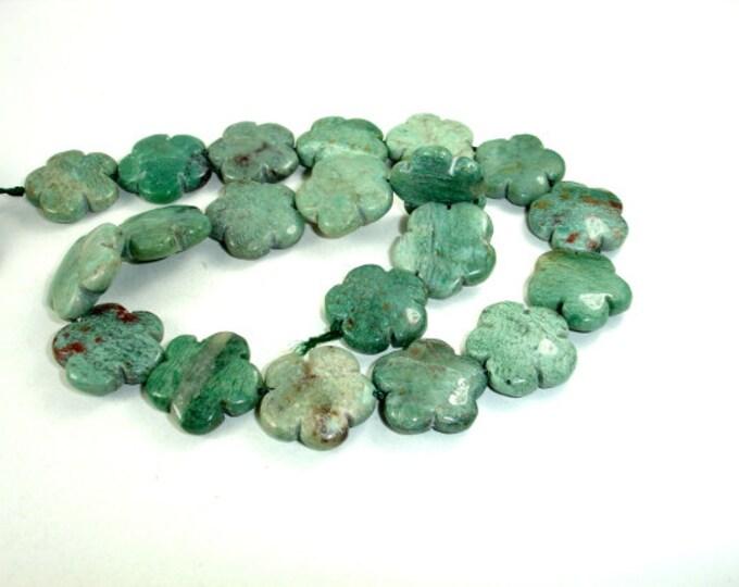 Dragon Blood Jasper Beads, Flower, 21 mm, 16 Inch, Full strand, 20 beads, Hole 1 mm (207036002)