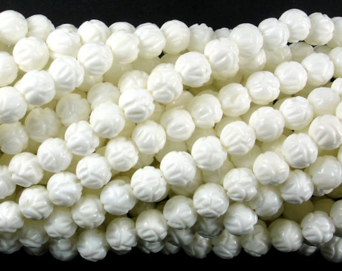 Tridacna Shell Beads, 6mm Carved Lotus Flower Round Beads, 15.5 Inch, Full strand, Approx 65 beads, Hole 0.8mm (403054018)