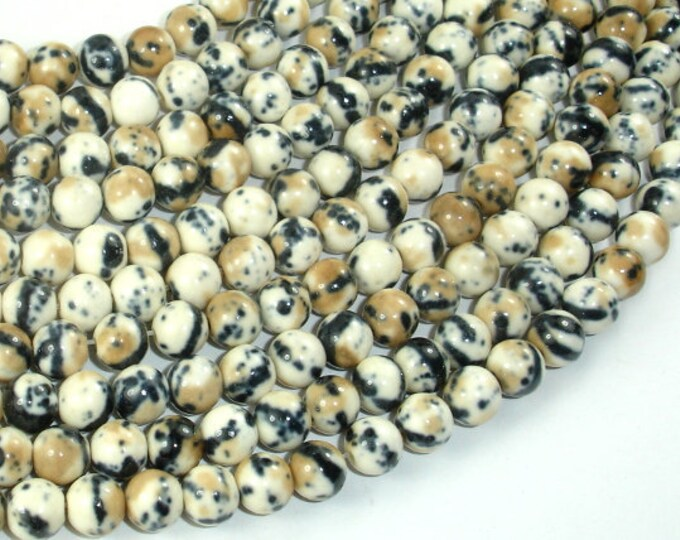 Rain Flower Stone, Creamy White, Black, 6mm (6.5mm) Round Beads, 15.5 Inch, Full strand, Approx 65 beads, Hole 1mm, A quality (377054042)