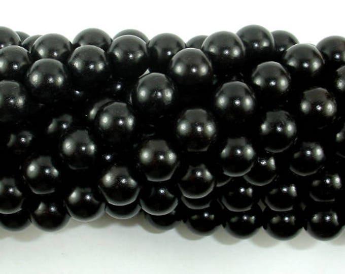 Black Sandalwood Beads, 8mm(8.5mm) Round Beads, 35 Inch, Full strand, Approx 108 Beads, Mala Beads (011732002)