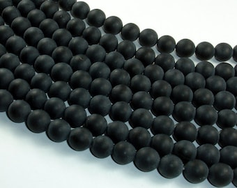 Matte Black Onyx Beads, Round, 8mm, 15.5 Inch, Full strand, Approx 48 beads, Hole 1mm, A quality (140054014)