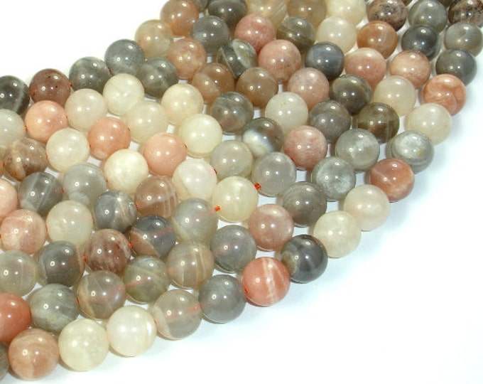 Peach / Gray / White Mixed Moonstone, 8mm (8.3mm) Round Beads, 16 Inch, Full strand, Approx 50 beads, Hole 1 mm (321054026)