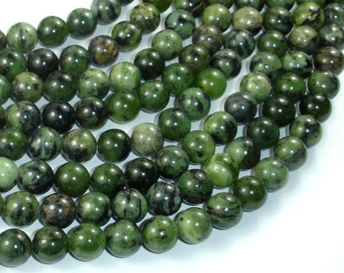Dendritic Green Jade Beads, 8mm(8.2mm) Round Beads , 15.5 Inch, Full strand, Approx 49 beads, Hole 1mm, A quality (308054005)
