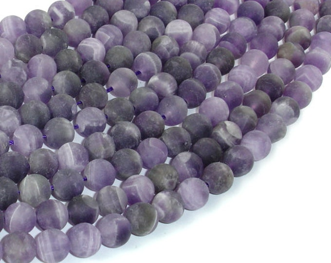 Matte Amethyst Beads, 8mm(8.2mm) Round Beads, 15.5 Inch, Full strand, Approx 48 beads, Hole 1mm (115054051)