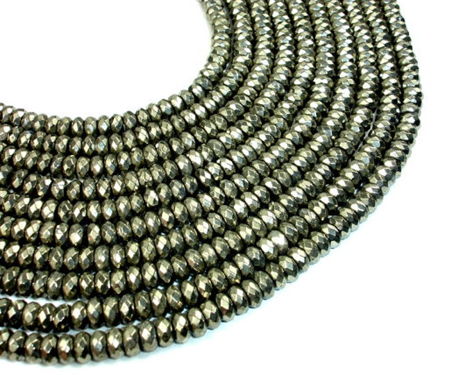 Pyrite Beads, Faceted Rondelle, 4x8 mm, 15.5 Inch, Full strand, Approx 98 beads, Hole 1 mm (361024001)