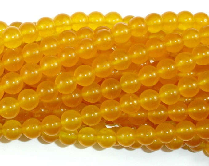 Jade Beads-Yellow, 8mm(7.8mm) Round Beads, 14.5 Inch, Full strand, Approx 46 beads, Hole 1mm (211054161)